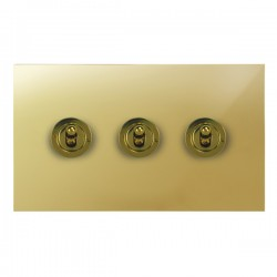 Focus SB True Edge TEAPB14.3 3 gang 20 amp 2 way toggle switch in Polished Brass
