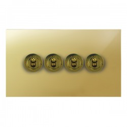 Focus SB True Edge TEAPB14.4 4 gang 20 amp 2 way toggle switch in Polished Brass