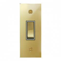 Focus SB True Edge TEAPB16.1W 1 gang 20 amp 2 way architrave switch in Polished Brass with white inserts