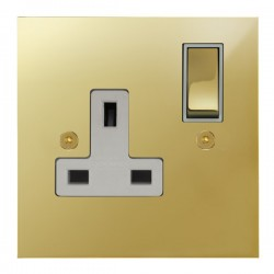 Focus SB True Edge TEAPB18.1W 1 gang 13 amp switched socket in Polished Brass with white inserts