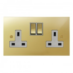 Focus SB True Edge TEAPB18.2W 2 gang 13 amp switched socket in Polished Brass with white inserts
