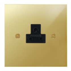 Focus SB True Edge TEAPB19.1B 1 gang 2 amp unswitched socket in Polished Brass with black inserts