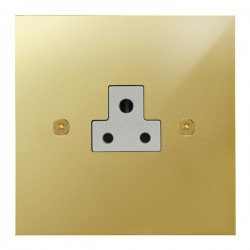 Focus SB True Edge TEAPB19.1W 1 gang 2 amp unswitched socket in Polished Brass with white inserts