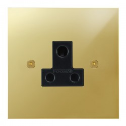 Focus SB True Edge TEAPB20.1B 1 gang 5 amp unswitched socket in Polished Brass with black inserts