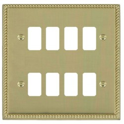 Hamilton Cheriton Georgian Grid Polished Brass 8 Gang Grid Fix Aperture Plate with Grid