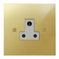 Focus SB True Edge TEAPB20.1W 1 gang 5 amp unswitched socket in Polished Brass with white inserts