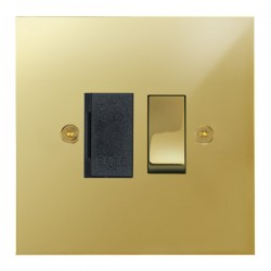 Focus SB True Edge TEAPB26.1B 13 amp switched fuse spur in Polished Brass with black inserts