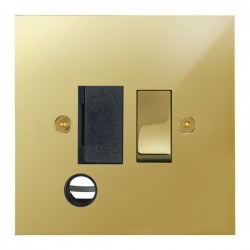 Focus SB True Edge TEAPB28.1B 13 amp switched fuse spur with cord outlet in Polished Brass with black inserts