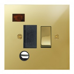 Focus SB True Edge TEAPB29.1B 13 amp switched fuse spur with cord outlet and neon in Polished Brass with ...