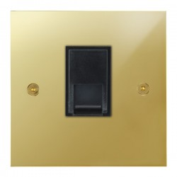 Focus SB True Edge TEAPB51.1B 1 gang CAT5 RJ45 socket in Polished Brass with black inserts