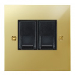 Focus SB True Edge TEAPB51.2B 2 gang CAT5 RJ45 socket in Polished Brass with black inserts