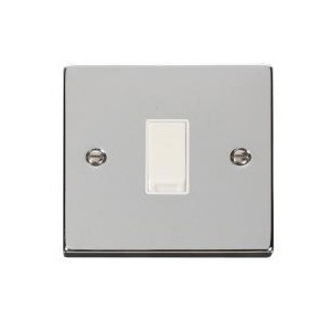 Click Deco Victorian Polished Chrome 1 Gang Intermediate 10AX Switch with White Insert