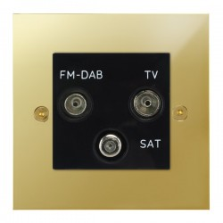 Focus SB True Edge TEAPB80.3B triplex TV/FM/Satellite outlet in Polished Brass with black inserts