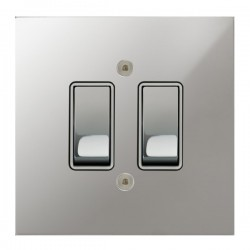 Focus SB True Edge TEAPC11.2W 2 gang 20 amp 2 way rocker switch in Polished Chrome with white inserts