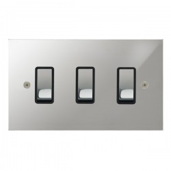Focus SB True Edge TEAPC11.3B 3 gang 20 amp 2 way rocker switch in Polished Chrome with black inserts