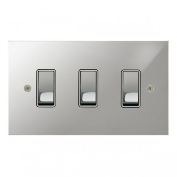 Focus SB True Edge TEAPC11.3W 3 gang 20 amp 2 way rocker switch in Polished Chrome with white inserts