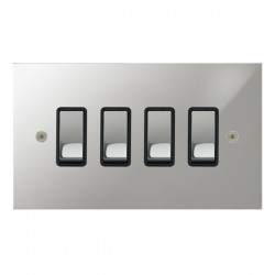 Focus SB True Edge TEAPC11.4B 4 gang 20 amp 2 way rocker switch in Polished Chrome with black inserts
