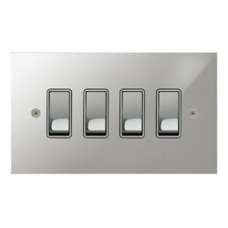 Focus SB True Edge TEAPC11.4W 4 gang 20 amp 2 way rocker switch in Polished Chrome with white inserts