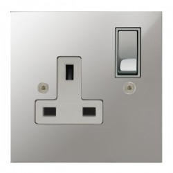Focus SB True Edge TEAPC18.1W 1 gang 13 amp switched socket in Polished Chrome with white inserts