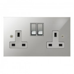 Focus SB True Edge TEAPC18.2W 2 gang 13 amp switched socket in Polished Chrome with white inserts