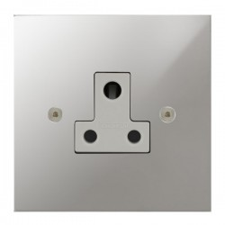 Focus SB True Edge TEAPC20.1W 1 gang 5 amp unswitched socket in Polished Chrome with white inserts