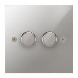 Focus SB True Edge TEAPC21.2 2 gang 2 way 250W (mains and low voltage) dimmer in Polished Chrome