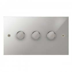 Focus SB True Edge TEAPC21.3 3 gang 2 way 250W (mains and low voltage) dimmer in Polished Chrome