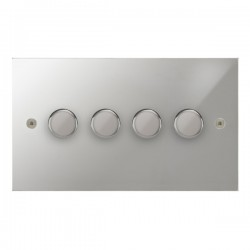 Focus SB True Edge TEAPC21.4 4 gang 2 way 250W (mains and low voltage) dimmer in Polished Chrome