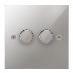 Focus SB True Edge TEAPC22.2 2 gang 2 way 400W (mains and low voltage) dimmer in Polished Chrome