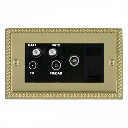 Hamilton Cheriton Georgian Polished Brass TV+FM+SAT+SAT (DAB Compatible)+TV+TCS (DAB Compatible) with Bla...