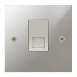 Focus SB True Edge TEAPC51.1W 1 gang CAT5 RJ45 socket in Polished Chrome with white inserts
