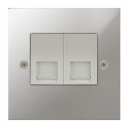 Focus SB True Edge TEAPC51.2W 2 gang CAT5 RJ45 socket in Polished Chrome with white inserts