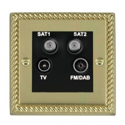 Hamilton Cheriton Georgian Polished Brass TV+FM+SAT+SAT (DAB Compatible) with Black Insert