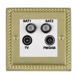 Hamilton Cheriton Georgian Polished Brass TV+FM+SAT+SAT (DAB Compatible) with White Insert