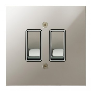 Focus SB True Edge TEAPN11.2W 2 gang 20 amp 2 way rocker switch in Polished Nickel with white inserts