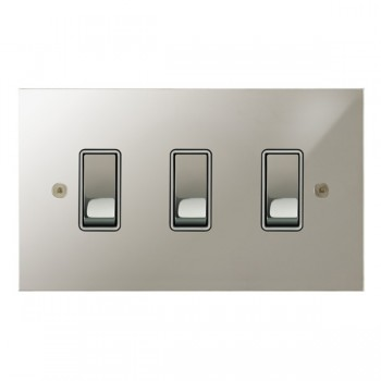 Focus SB True Edge TEAPN11.3W 3 gang 20 amp 2 way rocker switch in Polished Nickel with white inserts