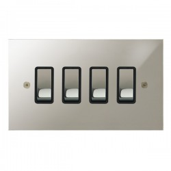 Focus SB True Edge TEAPN11.4B 4 gang 20 amp 2 way rocker switch in Polished Nickel with black inserts