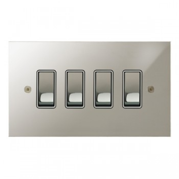 Focus SB True Edge TEAPN11.4W 4 gang 20 amp 2 way rocker switch in Polished Nickel with white inserts