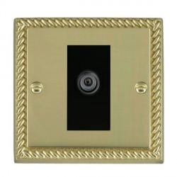 Hamilton Cheriton Georgian Polished Brass 1 Gang Digital Satellite with Black Insert