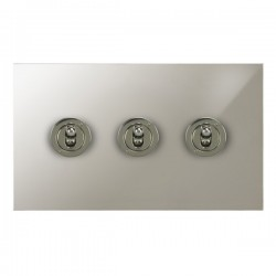 Focus SB True Edge TEAPN14.3 3 gang 20 amp 2 way toggle switch in Polished Nickel