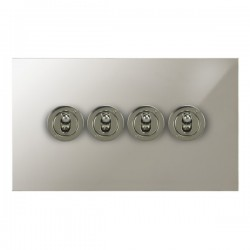 Focus SB True Edge TEAPN14.4 4 gang 20 amp 2 way toggle switch in Polished Nickel