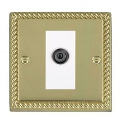Hamilton Cheriton Georgian Polished Brass 1 Gang Digital Satellite with White Insert