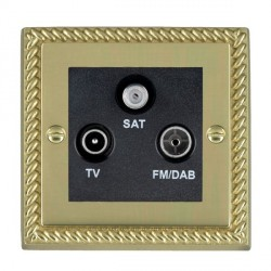 Hamilton Cheriton Georgian Polished Brass TV+FM+SAT (DAB Compatible) with Black Insert