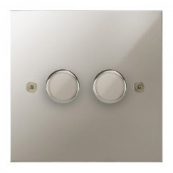 Focus SB True Edge TEAPN21.2 2 gang 2 way 250W (mains and low voltage) dimmer in Polished Nickel