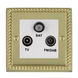 Hamilton Cheriton Georgian Polished Brass TV+FM+SAT (DAB Compatible) with White Insert
