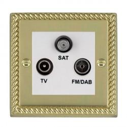 Hamilton Cheriton Georgian Polished Brass TV+FM+SAT (DAB Compatible) with White Insert