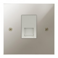 Focus SB True Edge TEAPN51.1W 1 gang CAT5 RJ45 socket in Polished Nickel with white inserts