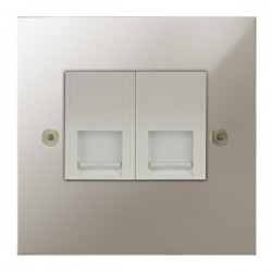 Focus SB True Edge TEAPN51.2W 2 gang CAT5 RJ45 socket in Polished Nickel with white inserts