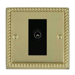 Hamilton Cheriton Georgian Polished Brass 1 Gang TV (Male) with Black Insert