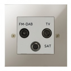 Focus SB True Edge TEAPN80.3W triplex TV/FM/Satellite outlet in Polished Nickel with white inserts